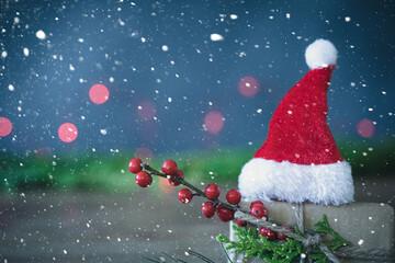 santa claus with christmas tree