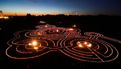 "A general view shows the light installation of about 3500 candles ""The great journey. Dreams in the sea of light"" in Berlin"