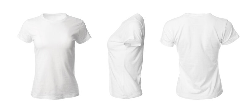 Set with stylish t-shirts on white background. Banner design