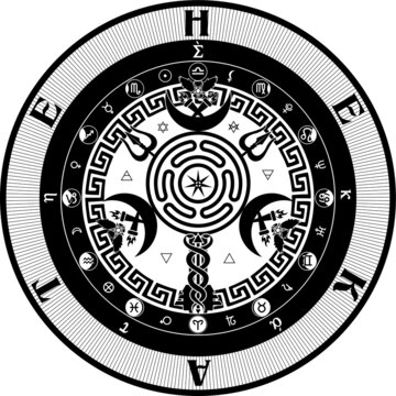 The Grand Seal of Hekate Goddess of Witchcraft, Wicca, Paganism, The Occult Pagan Esoteric Sigil Vector Image