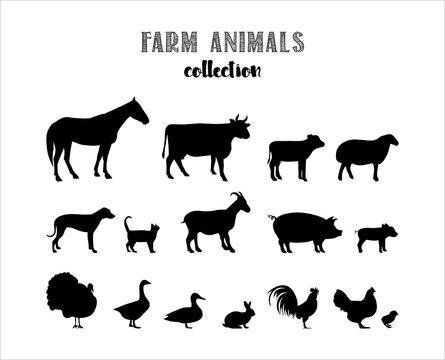 Farm animals vector silhouettes. Easily Editable Vector. EPS 10.