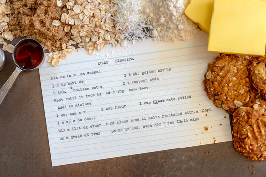 Anzac Biscuits  Vintage Recipe Ingredients and Cooked Biscuits
