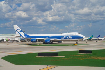 CHICAGO, IL -26 JUL 2020- View of a Boeing 747 airplane from AirBridgeCargo ABC (RU) , the largest Russian cargo airline, at Chicago O'Hare International Airport (ORD), United States.