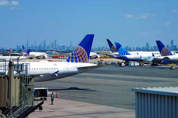 NEWARK, NJ -26 JUL 2020- View of an airplane from United Airlines (UA) at Newark Liberty International Airport (EWR) in New Jersey, United States.