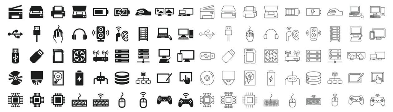 PC peripherals black and white icon set