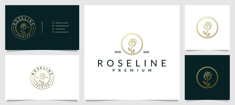 Creative elegant leaf and flower rose logo design for beauty