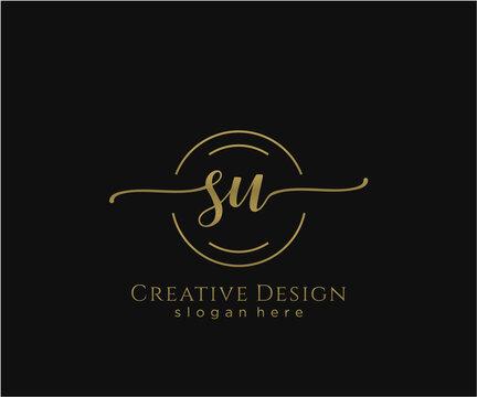 Initial SU beauty monogram and elegant logo design