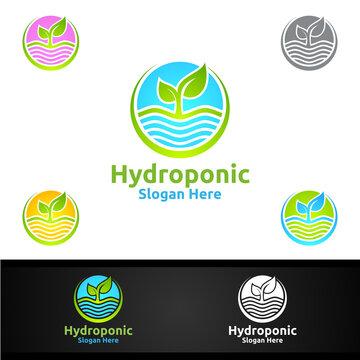 Sun Rise Hydroponic Gardener Logo with Green Garden Environment or Botanical Agriculture Design