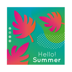 Wall Mural - hello summer colorful banner with leaf plant