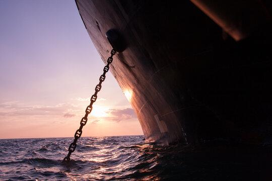 Borneo, Indonesia, 15 September 2008: A vessel waits offshore for coals at Borneo open sea