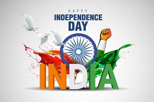 Indian happy Independence Day celebrations with stylish 3d india text and Ashoka Wheel.