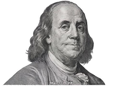 Benjamin Franklin face on us one hundred dollar bill macro isolated, united states money closeup