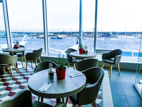 Munich, Germany - December 12, 2019: Attractive cafe at the international airport of Munich