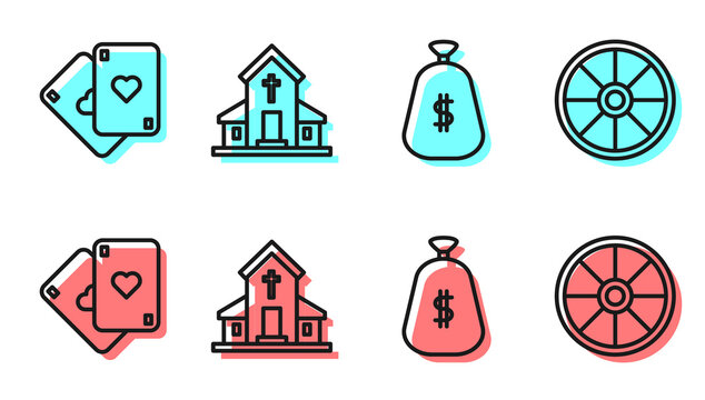 Set line Money bag, Playing cards, Church building and Old wooden wheel icon. Vector.