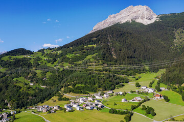 Switzerland, Poschiavo Valley, aerial view of the town