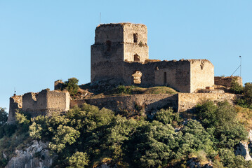 Castle of Ocio , ruins of a medieval castle of Kingdom of Navarre in Inglares Valley, Alava in Spain