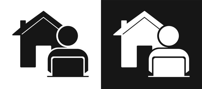 Work from Home Careers. Remote worker, silhouette of a man working at a computer, in the background a house icon