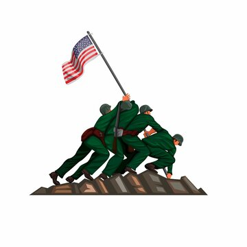 soldier american flag raising in iwo jiwa battle 26 march 1945. patriotic symbol in cartoon illustration vector isolated in white background