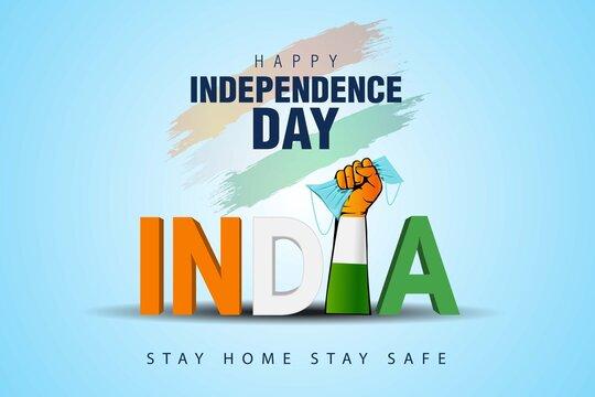 happy independence day india. covid-19, coronavirus concept