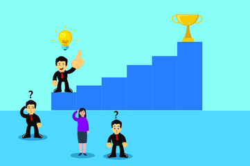 Business competition vector concept: Knowledgeable businessman on the way to the trophy while the other clueless business people stay below