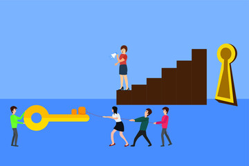 Team work vector concept: businesswoman standing on brown business chart while commanding her employees to lift the big key and insert it into the keyhole