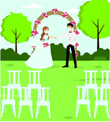 Marriage in New Normal lifestyle  vector concept: bride couple wearing face mask at a wedding