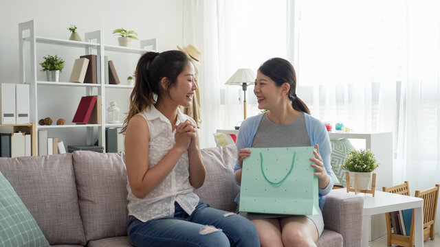 Pregnant woman and friend at baby shower party in home living room sitting on couch. smiling cheerful young maternity lady holding gift inside shopping bag and listening to girlfriend talking.