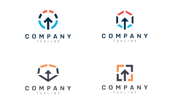 abstract geometric up arrow vector design set suitable for smart entry tech logo