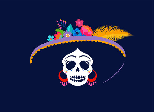 Dia de los muertos, Day of the dead, Mexican holiday, festival. Woman skull with make up of Catarina with flowers crown. Poster, banner and card with sugar skull