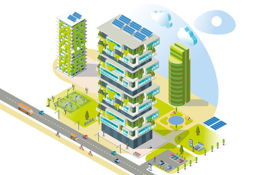 Isometric Sustainable Buildings. Vector illustration.
