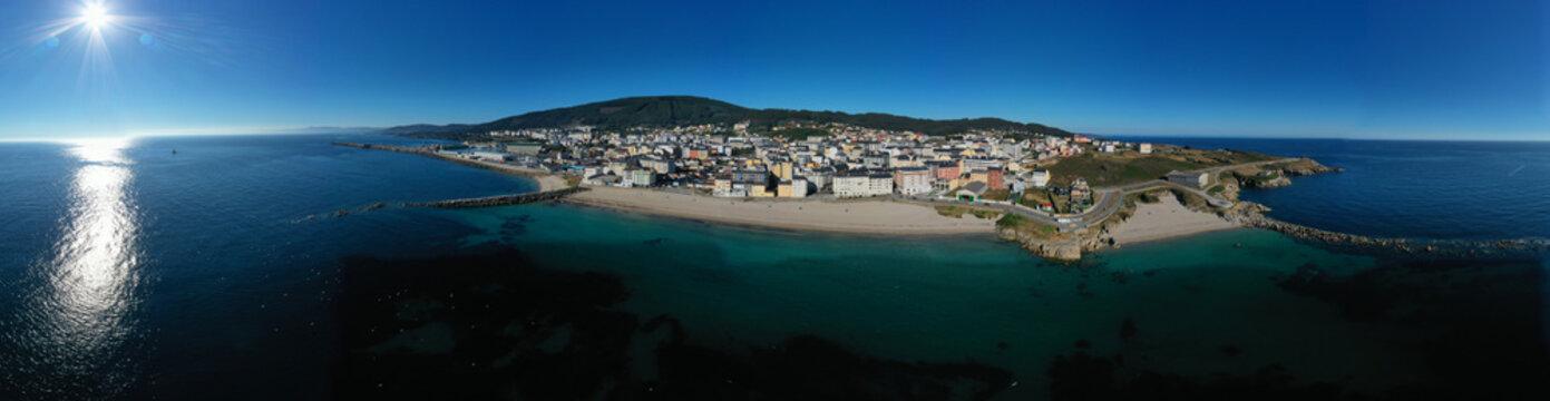 Aerial view of Burela´s coast in Galicia