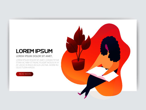 Businessman or manager with a tablet in his hand. Lorem ipsum. Illustration, vector