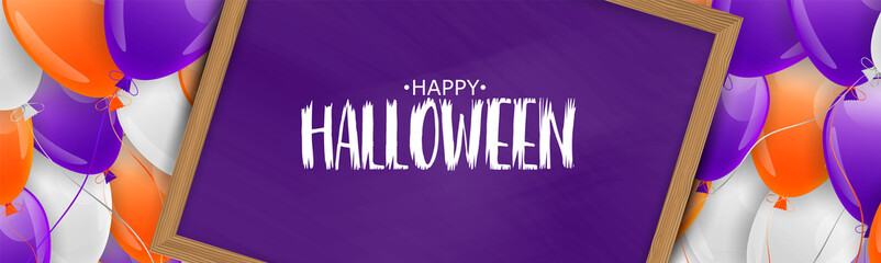 Halloween banner or header. Purple and orange balloons. Carton vector illustration.