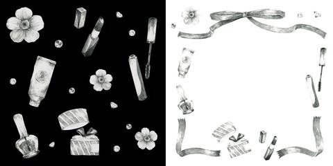 コスメと花のフレーム装飾とリピートパターン素材(白黒)