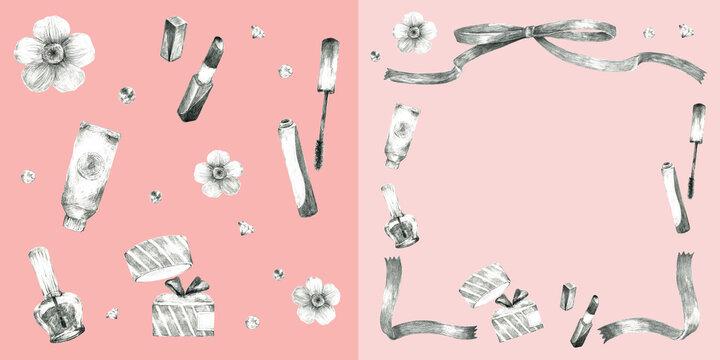 コスメと花のフレーム装飾とリピートパターン素材(ピンク背景)