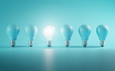 Fototapeta Outstanding Idea Concept. Glowing Bulb Between Unlit Blue Bulbs Minimal. obraz
