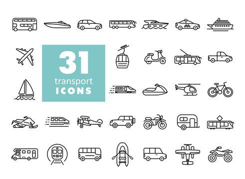 Transportation vector flat icon set