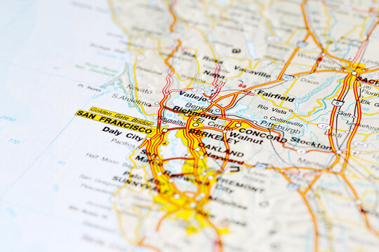 San Francisco city road map area. Closeup macro illustration view