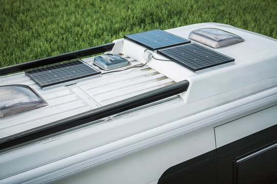 Solar Panels On Roof Of RV.