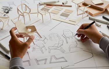 Designer sketching drawing design development product plan draft chair armchair Wingback Interior...