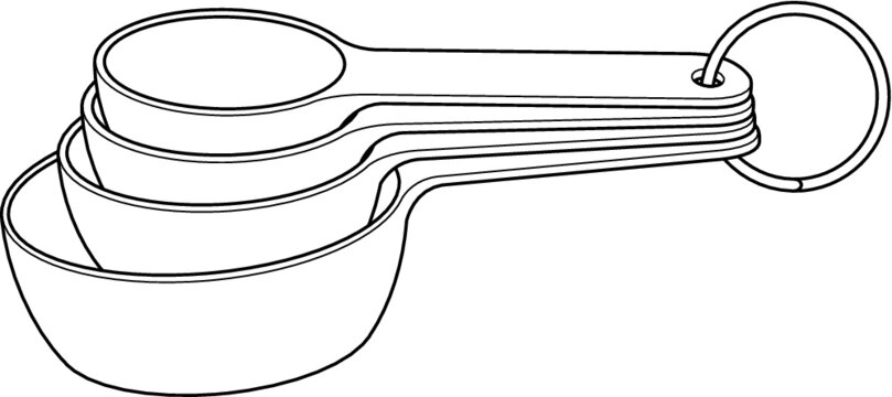 A vector line art illustration of a set of five measuring cups