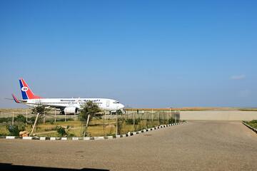 Hadibo, Yemen - March 12, 2010: Yemenia Airlines plane on the runway at Hadibo airport of Socotra island