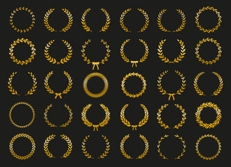 Collection of gold circular laurel wreaths for use as design elements in heraldry on an award certificate manuscript and to symbolise victory illustration in silhouette