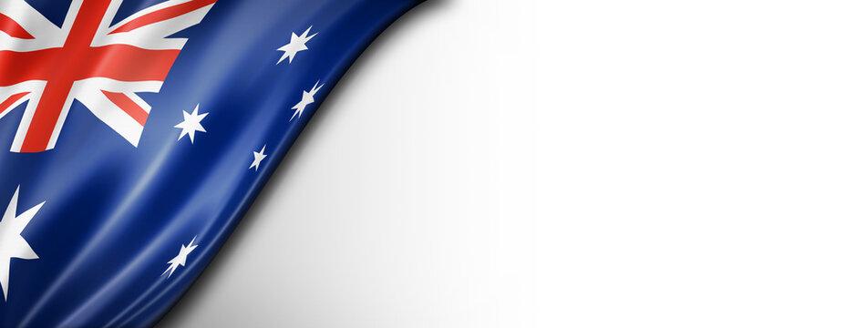 Australian flag isolated on white banner