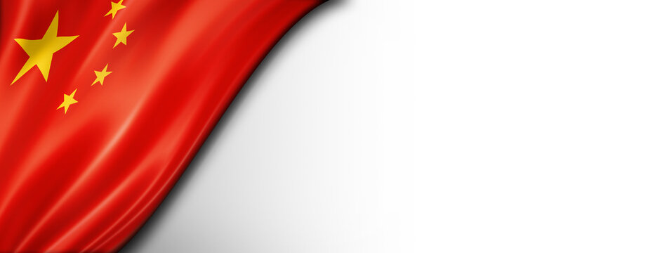Chinese flag isolated on white banner