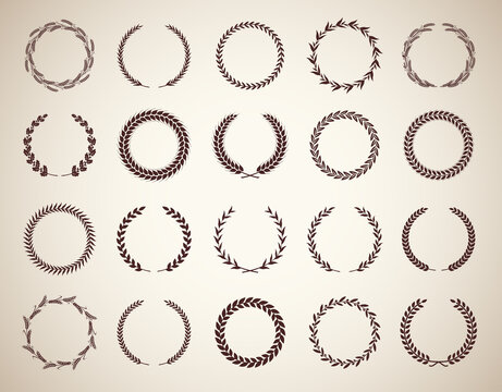 Collection of twenty circular vintage laurel wreaths. Can be used as design elements in heraldry on an award certificate manuscript and to symbolise victory illustration in silhouette