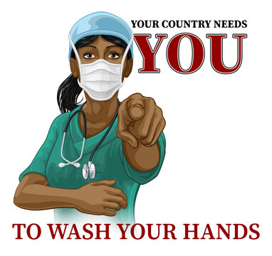 A woman nurse or doctor in surgical or hospital scrubs and mask pointing in a your country needs or wants you gesture. With the message to wash your hands