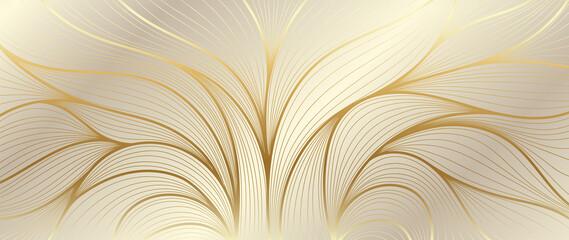 Luxury golden wallpaper. Art Deco Pattern, Vip invitation background texture for print, fabric, packaging design, invite.  Vintage vector illustration.