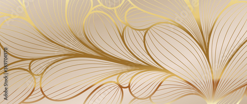 Luxury Golden Wallpaper Art Deco Pattern Vip Invitation Background Texture For Print Fabric Packaging Design Invite Vintage Vector Illustration Wall Mural Vectortwins
