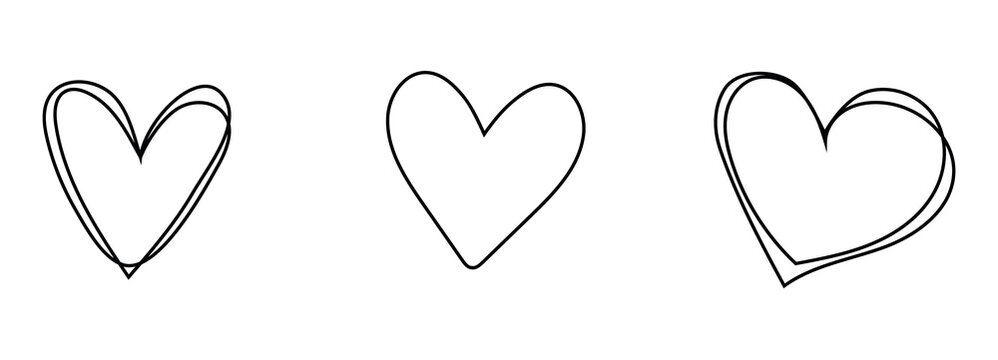 Hand drawn hearts set. Handdrawn rough heart marker isolated on white background. Vector illustration